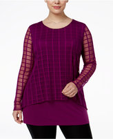Alfani Plus Size Checked-Mesh Cage-Overlay Top, Only at Macy's