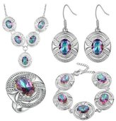 Babao Jewelry Jewelry Sets Babao Jewelry Luxury Oval Multicolored 925 Sterling Silver Plated Brass Cubic Zirconia Crystals Pendant Necklace Earrings Bracelet Set Ring Size 7