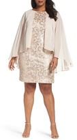 Alex Evenings Plus Size Women's Chiffon Overlay Sequin Lace Sheath Dress
