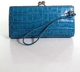 Burberry Blue Embossed Leather Clasp Closure 3 Pocket Clutch Size Small