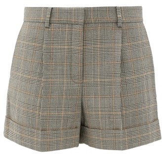 Bella Freud Prince Of Wales-checked Wool Shorts - Grey