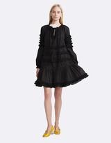 Cynthia Rowley Polished Cotton Fringed Flounce Dress