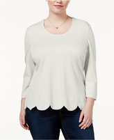 Melissa McCarthy Trendy Plus Size Scalloped-Hem Top