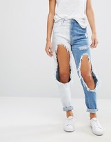 Missguided Riot Contrast Ripped Jeans