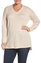 Sejour Plus Size Women's Sequin V-Neck Sweater