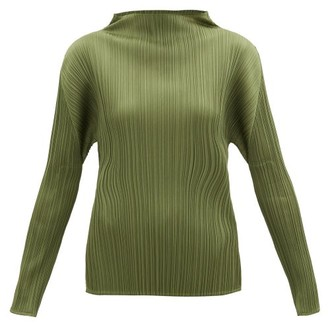 Pleats Please Issey Miyake High-neck Technical-pleated Top - Khaki