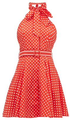 Zimmermann Zinnia Polka-dot Linen-blend Mini Dress - Womens - Red Print