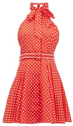 Zimmermann Zinnia Polka Dot-print Linen-blend Mini Dress - Womens - Red Print