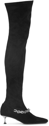 Cesare Paciotti Chain-embellished suede over-the-knee boots