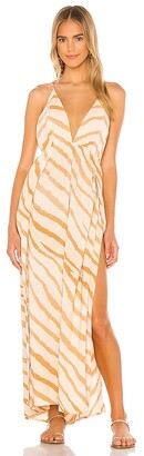 Indah River Triangle Plunge Wrap Skirt Maxi Dress