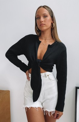 Beginning Boutique Bodhi Tie Up Knit Top Black