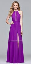 Faviana Strappy High Slit Illusion Insert Prom Dress