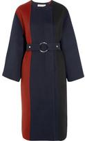 Marni Paneled Brushed Wool, Angora And Cashmere-blend Coat - Navy