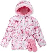S. Rothschild 2-Pc. Floral-Print Ruffle Puffer Jacket & Mittens Set, Toddler Girls (2-6X) & Little Girls (2-7)
