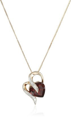 Amazon Collection 10k Yellow Gold Heart Garnet and Diamond Pendant Necklace 18""