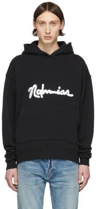 Nahmias Black Scripted Embroidery Hoodie