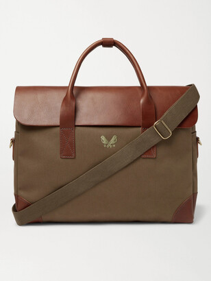 Bennett Winch - Cotton-Canvas and Full-Grain Leather Briefcase - Men - Green