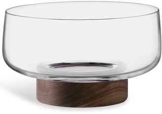 LSA International City glass bowl and walnut base