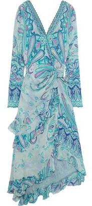 Etro Wrap-effect Embellished Printed Silk-georgette Midi Dress
