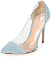 Gianvito Rossi Denim Illusion Cap-Toe Pump, Gray