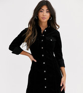 New Look Petite cord bodycon dress in black