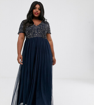 Maya Plus V Neck Maxi Tulle Dress with Tonal Delicate Sequins in Navy