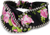 Gucci Rose Print Crystal Embellished Headband