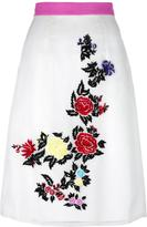 House of Holland rose embroidery straight skirt - women - Silk/Viscose/Polyester - 6