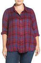 Lucky Brand 'Bungalow' Plaid Button Back Shirt (Plus Size)