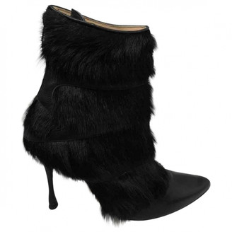 Manolo Blahnik Black Faux fur Ankle boots