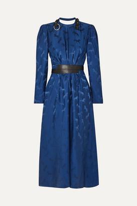 Stella McCartney + Net Sustain Faux Leather-trimmed Silk-jacquard Dress - Blue