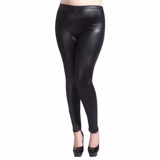 Hooudo Women HOOUDO Yoga PantsWomen Faux Leather Wet Look Stretch Sport Running Workout Gym Leggings Tights Trousers Plus Size S-5XL Black