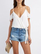 Charlotte Russe Cold Shoulder Surplice Bodysuit
