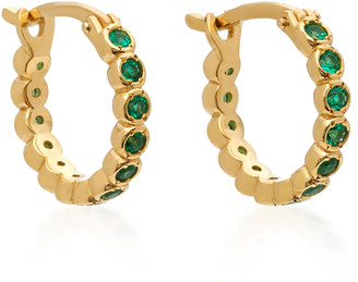 Octavia Elizabeth Chloe 18K Gold Emerald Hoop Earrings