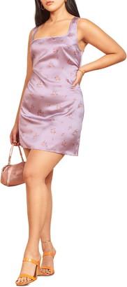 Reformation Darcey Floral Print Silk Minidress