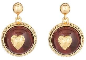 Oscar de la Renta Heart & Cabochon Disk Earrings