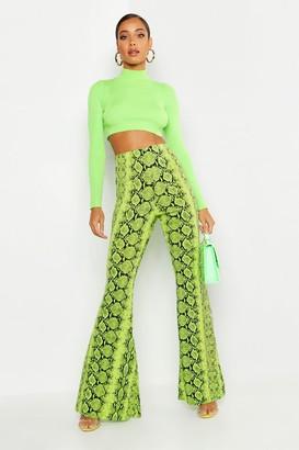 boohoo High Waist Neon Snake Wide Leg Pants