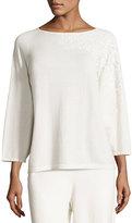Joan Vass Lace-Appliqué Sweater Top, Ivory, Plus Size