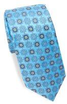 Ike Behar Woven Geometric Flower Silk Tie