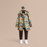 Burberry Reclining Figures Print Cotton Trench Coat with Detachable Hood