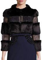 Alberto Makali Rabbit Fur & Embellished Lace Bolero