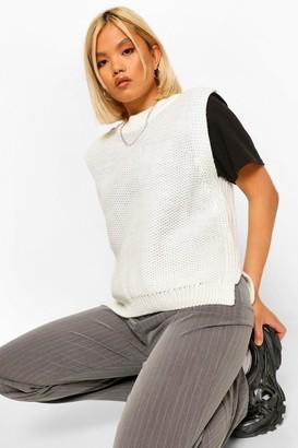 boohoo Petite Oversized Knitted Vest Jumper