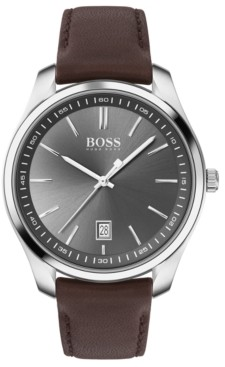 BOSS Men's Circuit Brown Leather Strap Watch 42mm