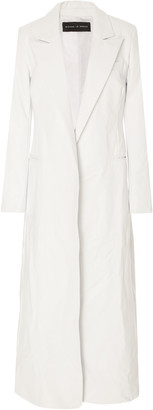 Michael Lo Sordo Relaxed Double Breasted Leather Trench Coat
