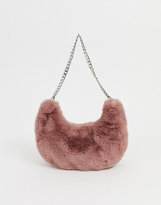 Asos Design DESIGN fur 90s hobo shoulder bag