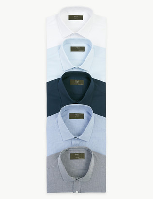 Marks and Spencer 5 Pack Tailored Fit Long Sleeve Shirts