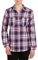 Allison Daley Roll-Tab Sleeve Button Front Plaid Shirt