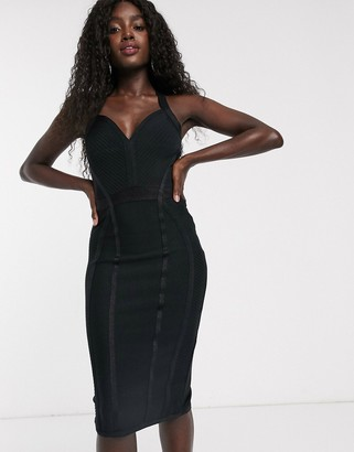 Lipsy cross strap bandage dress in black