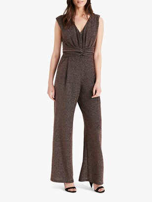 Phase Eight Rena Sleeveless Sparkle Jumpsuit, Bronze