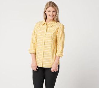 Denim & Co. Stripe Stretch Poplin 3/4-Sleeve Shirt